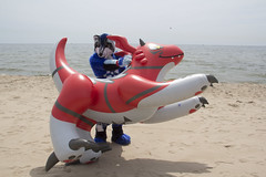 IMG_4233 (aaronwhipya) Tags: blue red orange white lake black beach wisconsin husky michigan aaron gray inflatable milwaukee latex wi pvc inflatables inflate inflation guilmon aaron8181