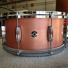 7X14 brushed copper plate snare drum. This bad boy is on it's way to Pro Drums here in L.A. Go check it out if you are in the neighborhood! #qdrumco #copper #snare #prodrums