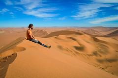 On the top of the highest sand dunes of the Namib desert, Namibia (jbdodane) Tags: africa bigdaddy day622 desert dunes jb namibnaukluft namibnaukluftpark namibia sand sanddunes sesriem sossusvlei freewheelycom jbcyclingafrica