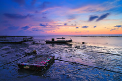 colorful beach (Thunderbolt_TW) Tags: sunset sea sky sun reflection water windmill canon landscape taiwan explore     hy windturbine bai  changhua   explored     hsienhsi  fave50  fave100 changpingindustryarea hybai