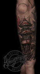 Japanese House Tattoo (13.22 Tattoo Studio) Tags: park black london art geometric tattoo illustration ink idea design cool stencil artist drawing geometry flash north fine indoor mandala best line queens stuff brent watercolour designs script custom fk realism realistic irons stippling 1322 brondesbury sourgrapes blackandgray blackandgrey kilbun s0urgrapes