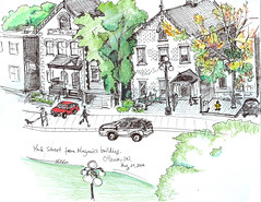 A view of York Street in Ottawa from a Mayor's building window (Ottawa, Ontario) (lezumbalaberenjena) Tags: urban sketch drawing dibujo boceto