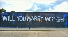 Graffiti (Edwin), East London, England. (Joseph O'Malley64) Tags: uk streetart london fence graffiti funny europe britain eu marriage humour hackney passport marry eastlondon