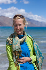 Anne (Niyantha) Tags: travel portrait woman india lake backpacking backpacker ladakh traveler pangong pangongtso pangonglake peoplephotos peopleinladakh