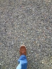 Walking on gravel (hupspring) Tags: up walking shoe jeans colton unionpacific gravel ballast brownshoe coltonyard