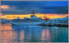 Cruise Ship Docking (tdlucas5000) Tags: ocean canada vancouver clouds sunrise harbor ship coal hdr photomatix brittishcolumbia