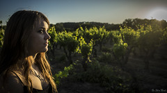 Last Glows on the Vines (Dr AP) Tags: blue sunset green girl beauty face vines eyes redhead