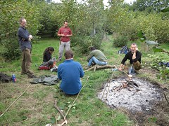 morning bushcrafting (squeezemonkey) Tags: countryside kent orchard campfire crumpet plat toasting bushcraft cobnuttrees