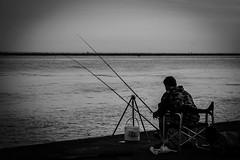 Il Pescatore (Foto Davide Diego Dilevrano) Tags: morning sea blackandwhite fish monochrome photography photo fisherman mare hobby passion lonely bianconero solitario pescatore pastime blackandwhitephotography mattina passione passatempo fotodavidediegodilevrano davidediegodilevranophotography