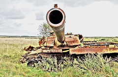Imber Artillery Range, Wiltshire, Aug 2014 (effects) (roger.w800) Tags: england english abandoned dead army countryside hit rust tank military shell rusty rusted shelling cannon target artillery rusting hulk damaged wiltshire burntout salisburyplain tanks antitank militarytraining ghostvillage chieftain knockedout imber armytraining directhit chieftaintank britishtank armytrainingarea tankrange deadtank artilleryrange rangetarget artillerytarget