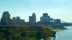 Louisville Skyline at Sunset (supernova9) Tags: bridge skyline september louisville iphone 2014 louisvilleky louisvilleskyline iphone5s