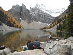 #contemplation (Mr. Happy Face - Peace :)) Tags: yyc moments nature snowcaps larchforest fall rockies rockymountains strangers autumn chill contemplation lake alpine art2016 canadaparks lakelouise teahouse mirrored reflections flickrfriday