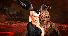 Darling, we are just good friend :-) (ClaireDiLuna) Tags: second life secondlife sl sanarae event creepy creep zombie clairediluna halloween 2016 grusel