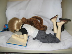 Reading Interrupted 001 (EmpathicMonkey) Tags: bjd bluefairy olive toby happy monkey photo story ball jointed dolls toys