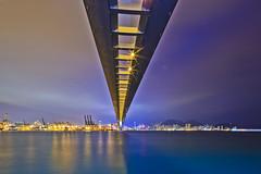 Stonecutters' Bridge (briantang0703) Tags: bridge hongkong sea water blue building art architecture city night light line canon tse 17mm markiii sky cloud river reflection