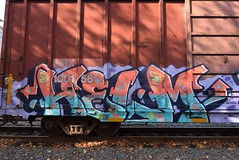 HELM (TheGraffitiHunters) Tags: graffiti graff spray paint street art colorful freight train tracks benching benched helm boxcar