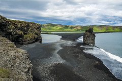 Black beach (Suho_Ja) Tags: black beach sand ocean sea cliff hill rock mountains hills ridge green travel water olympus outdoors nature m43 em5 cloudy clouds sky waves tide tidal shore shoreline iceland