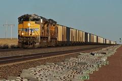 Towards the Mines - Van Tassell, WY (MinnKota Railfan) Tags: rail railroad engine loco locomotive train up union pacific powder river basin coal coaler bucket hopper load van tassell wyoming