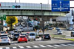 traffic intersection, Dotonbori, Osaka (jtabn99) Tags: bridge car street osaka sakuragawa nishiku namba 20161202 dotonbori river canal crossing intersection japan nippon nihon