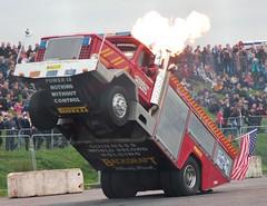 Santa Pod Flame & Thunder October 2016 (411) (Bristol Viewfinder) Tags: backdraft wheeliefiretruck ultimatemotorstunts pirelli monster trucks swampthing podzilla santapod