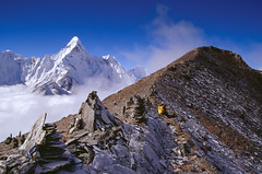 Chhukung Ri Ascent (robertdownie) Tags: mist sky fog mountains blue clouds snow mountain nepal valley peak mountaineering hiking trekking ascent himalaya ama dablam everest region chhukung ri
