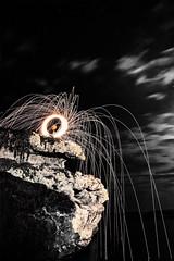 IMG_0011-Modifica-Modifica-2-bnw (fruso94) Tags: steelwool longexposition sea night moon fire rock canon 600d wonderful nature