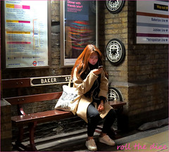 `1855 (roll the dice) Tags: london bakerstreet bench bored chinese korean sexy pretty mobile phone talk tube underground people natural sad eat mad funny platform passenger uk art classic urban england unknown unaware portrait light candid stranger bakerloo circle fashion shopping wait advertising girl canon tourism out trouble w2 carriage bricks