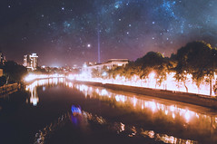 Nothing is more beautiful than stars above the city. (lukajokhadze) Tags: photography mine by me nikon d90 tbilisi stars georgia city sky river trees mtkvari buildings urban lights night bridge blue yellow beautiful dark black boat