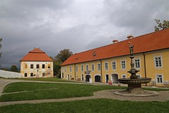 Courtyard and Fountain at Vy Brod Abbey (smilla4) Tags: sky clouds courtyard foutain vyssibrodabbey vyssibrod czechrepublic