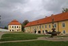 Courtyard and Fountain at Vyšší Brod Abbey (smilla4) Tags: sky clouds courtyard foutain vyssibrodabbey vyssibrod czechrepublic
