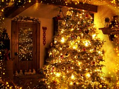 Wishing You a Golden Christmas (sharis snaps) Tags: pareeerica christmas tree december decorations lights home interior holiday customs memories