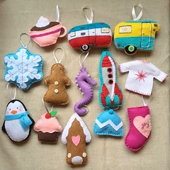 An Assortment of Holiday Ornaments (LookHappyShop) Tags: ornament holiday decoration christmas gift felt embroidered handmadeetsy lookhappy winter hanging ribbon custom gingerbread camper retro vintage rocket 60s sweater stocking penguin cupcake house hat snowflake cocoa cup mug