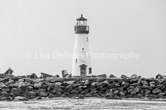 IMG_0132 (Lisa Delores Photography) Tags: lighthouse santa cruz california coast water jetty rocks natural light ocean black white monochrome canon 70200 mm mhpc