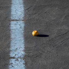focus on the bright spot in the center (MyArtistSoul) Tags: ventura ca asphalt grey light blue stripe cracked faded vertical bright orange citrus fruit clementine center square minimal simple abstract 4111