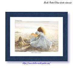 Le Chateau de sable. Petit cadre Aquarelle de Nicole Pastor (Nicole Pastor) Tags: artistepeintre peinture petitefille plage enfance chambreenfant chateaudesable