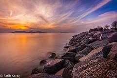 Sunset from rocks/ Kayalklardan Gnbatm (Kalem ve Mum) Tags: sky sunset sea stones shore deniz gkyz gnbatm gne sun kayalklar istanbul turkey