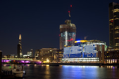 Someone always playing corporation games (OR_U) Tags: 2016 oru uk london le longexposure river riverthames bridge skyline mondrianlondon theshard oneblackfriars crane night nightphotography nightlights colours seacontainershouse