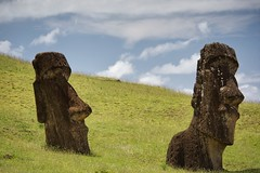 Some moai are partially buried to their shoulders at Rano Raraku (hhayk) Tags: isladepascua island chile rapanui easterisland southamerica moai polynesia
