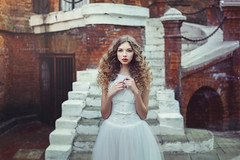 Beauty Ann (ravenajuly) Tags: old wedding red white cold building castle girl beautiful beauty fashion hair bride photo big model long dress wind makeup lips sensual fairy curly fantasy blonde corset apples tall walls feeling thin hairstyle tender tails plumage photoshooting ravenajuly