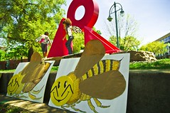 Bees Arrive at Catalano Square (Light Brigading) Tags: sign square bees banner joe bee milwaukee gmo monsanto catalano brusky geneticallymodifiedorganism beethechange marchagainstmonsanto mam2014