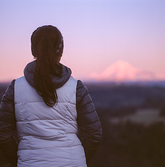Enjoying the Last Light (Aaron Bieleck) Tags: sunset sky mountain 6x6 film sarah oregon analog mediumformat square landscape fuji bokeh scenic 120film mthood fujiprovia100f hasselblad500cm positivefilm 80mmct jonsrudviewpoint wlvf