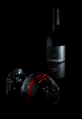 Carnivor Wine - Carnivore Blood (M-M_Photo) Tags: california camera light red black glass animal speed canon reflections dark studio nude photography vineyard blood lowlight wine label fear flash low off highlights iso crime alcohol gore grapes horror murder bloody wineglass redwine fullframe predator product tamron winebottle speedlight crimescene carnivore gruesome emptyglass californiawine blooddrops redgrapes carnivor strobes productphotography 2470 lowiso 430ex offcameraflash lowkeylighting drippingblood strobist tamron2470 sulfites 430exii canon5dmarkiii 5d3 5diii 2470vc devourlife