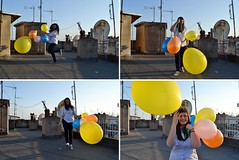 **Nobody can be grumpy while holding balloons! (Despina Titoni) Tags: pink blue portrait orange woman sunlight selfportrait color rooftop girl smile yellow shirt female hair balloons fun happy long photographer shadows young happiness greece jeans feeling capture emotions antennas nikond3100