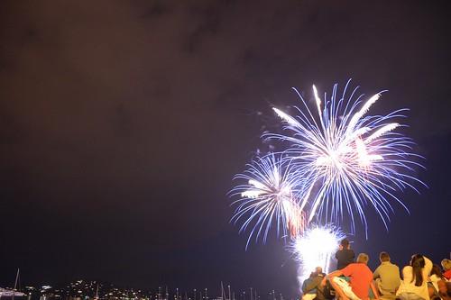 Fireworks celebrating 14 Juillet in Porto-Vecchio (Corsica, France 2014)