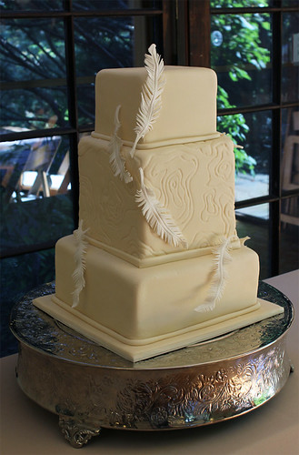 Feathers and Topography Wedding Cake