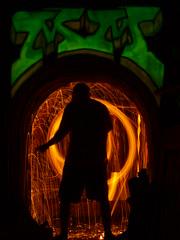 OM Prime (MM ) Tags: longexposure lightpainting silhouette newcastle graffiti spin 28mm arches olympus glowinthedark lighttrails mm om sparks lightgraffiti phosphor wirewool paintingwithlights bulbmode singleexposure sooc manualaperturemanipulation