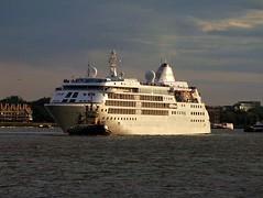 Gently Does It! (crashcalloway) Tags: sunset london cruiseship tug riverthames limehouse silvercloud silverseacruises svitzerlaceby