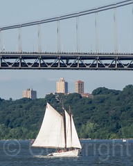 A.J. Meerwald Tall Ship at the George Washington Bridge, New York City (jag9889) Tags: nyc newyorkcity bridge usa ny newyork river landscape boat newjersey sailing ship crossing unitedstates manhattan unitedstatesofamerica nj vessel transportation hudsonriver tallship gw edgewater gwb waterway gardenstate georgewashingtonbridge washingtonheights 2014 wahi northriver k007 jag9889