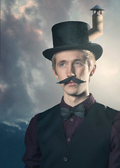 STEAMHAT (Annasara Bjaaland) Tags: sky inspiration game face hat fashion collage photoshop studio fly iceland flash tie xbox moustache suit montage imagination fable flashes profoto profotoflash fableiii steamhat profotoflashes