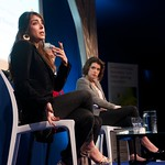 Ramita Navai and Alev Scott on stage at the Edinburgh International Book Festival